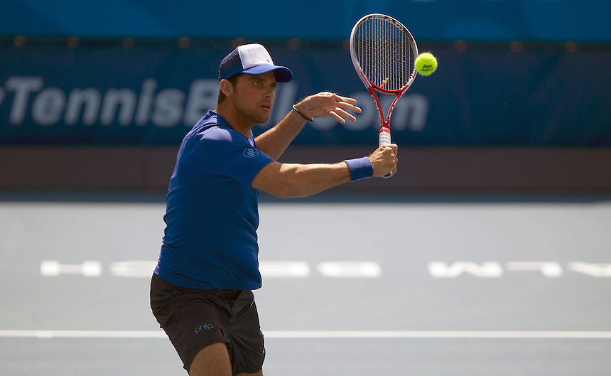 Mark Philippoussis (AUS) in action during his defeat by Carlos Moya (ESP) in their Group B match today - C Moya (ESP) d M Philippoussis (AUS) 6-4 6-4..Tennis - ATP Champions Tour - 2013 Delray Beach International Tennis Championships - Day 2 - Saturday 23rd February 2013 - Delray Beach Stadium & Tennis Center - Delray Beach - Florida - USA..© CameraSport - 43 Linden Ave. Countesthorpe. Leicester. England. LE8 5PG - Tel: +44 (0) 116 277 4147 - admin@camerasport.com - www.camerasport.com