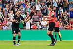 11.08.2019, Stadion Lohmühle, Luebeck, GER, DFB-Pokal, 1. Runde VFB Lübeck vs 1.FC St. Pauli<br /> <br /> DFB REGULATIONS PROHIBIT ANY USE OF PHOTOGRAPHS AS IMAGE SEQUENCES AND/OR QUASI-VIDEO.<br /> <br /> im Bild / picture shows<br /> Rote Karte fuer Dimitrios Diamantakos (FC St. Pauli) von Schiedsrichter Frank Willenborg<br /> <br /> Foto © nordphoto / Freund