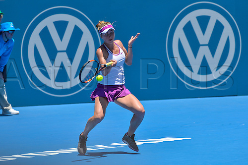 11.01.16 Sydney, Australia. Angelique Kerber (GER)in action against Elina Svitolina (UKR) during their womens singles match on day 2 at the Apia International Sydney.