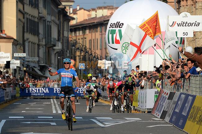 Dan Martin (IRL) Garmin-Sharp wins the 2014 Tour of Lombardy, Race of the falling leaves, Como, Italy. 5th October 2014.<br /> Photo: Gian Mattia D'Alberto/LaPresse/Newsfile