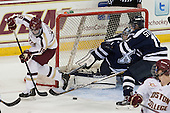 Ryan Fitzgerald (BC - 19), Morgan Clark (StFX - 33), Ted Stephens (StFX - 15) - The Boston College Eagles defeated the visiting St. Francis Xavier University X-Men 8-2 in an exhibition game on Sunday, October 6, 2013, at Kelley Rink in Conte Forum in Chestnut Hill, Massachusetts.