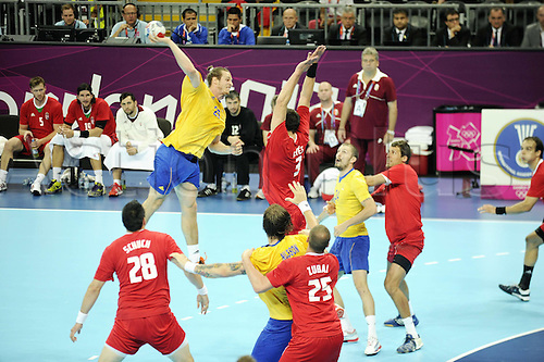10 08 2012  Ekdahl Rietz Kim Sweden. 2012 London Olympic games mens handball semi-final. Sweden versus Hungary.   Sweden beat Hungary by a score of 27-26 to reach Olympic men's handball final for 4th time