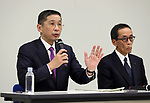 November 17, 2017, Yokohama, Japan - Japanese automobile giant Nissan Motor president Hiroto Saikawa (L) speaks before press as the company has been carrying out flawed inspections of their vehicles at the Nissan headquarters in Yokohama, suburban Tokyo on Friday, November 17, 2017. Saikawa and other company executives will return their pay following the final vehicle inspections scandal.     (Photo by Yoshio Tsunoda/AFLO) LWX -ytd-