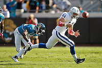 October 03, 2010:   Indianapolis Colts tight end Dallas Clark (44) misses a pass during 1st half AFC South Conference action between the Jacksonville Jaguars and the Indianapolis Colts at EverBank Field in Jacksonville, Florida.   Jacksonville defeated Indianapolis 31-28........