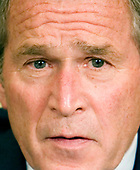 Washington, D.C. - September 29, 2008 -- United States President George W. Bush speaks about the failure of the House of Representatives to pass a $700 billion bailout package for the financial markets during a meeting with Viktor Yushchenko, in the Oval Office of the White House in Washington, D.C., U.S., Monday, September 29, 2008.  <br /> Credit: Joshua Roberts - Pool via CNP
