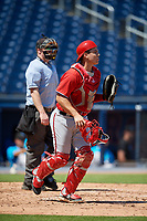 Washington Nationals catcher KJ Harrison (4) during an Instructional League game against the Miami Marlins on September 26, 2019 at FITTEAM Ballpark of The Palm Beaches in Palm Beach, Florida.  (Mike Janes/Four Seam Images)
