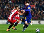 League Santander 2017/2018. Game: 25.<br /> FC Barcelona vs Girona FC: 6-1.<br /> Pere Pons vs Lionel Messi.