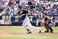 March 13, 2010 - Milwaukee Brewers' Corey Hart (#1) at-bat during a spring training game against the Colorado Rockies at Maryvale Baseball Park in Maryvale, Arizona.