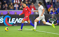 ORLANDO, FL - NOVEMBER 15: Sergino Dest #18 of the United States moves with the ball during a game between Canada and USMNT at Exploria Stadium on November 15, 2019 in Orlando, Florida.