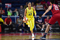 Washington, DC - June 14, 2019: Seattle Storm guard Jordin Canada (21) brings the ball up court during game between Seattle Storm and Washington Mystics at the St. Elizabeths East Entertainment and Sports Arena in Washington, DC. The Storm hold on to defeat the Mystics 74-71. (Photo by Phil Peters/Media Images International)