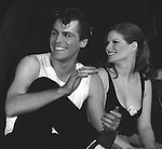 Jeff Conaway & Candice Earley on stage December 2, 1979 as Grease passed Fiddler on the Roof as Broadway's longest running show with its 3243rd performance at the Royale Theatre  in New York City.