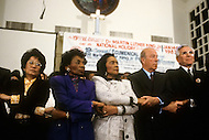 Atlanta, Georgia, U.S.A, 15 January, 1987. The 58th birthday memorial of Martin Luther King. From left to right: the sister of Cory Aquino,  Christine King Farris, Coretta King, George Shultz, Reverend Rober Schuller.