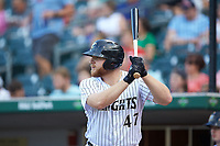 A.J. Reed (47) of the Charlotte Knights waits for his turn to bat during the game against the Scranton/Wilkes-Barre RailRiders at BB&T BallPark on August 14, 2019 in Charlotte, North Carolina. The Knights defeated the RailRiders 13-12 in ten innings. (Brian Westerholt/Four Seam Images)