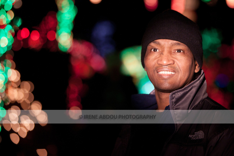Idrissa Abdou enjoys the holiday light display at the Brookside Gardens Garden of Light in Wheaton, Maryland.