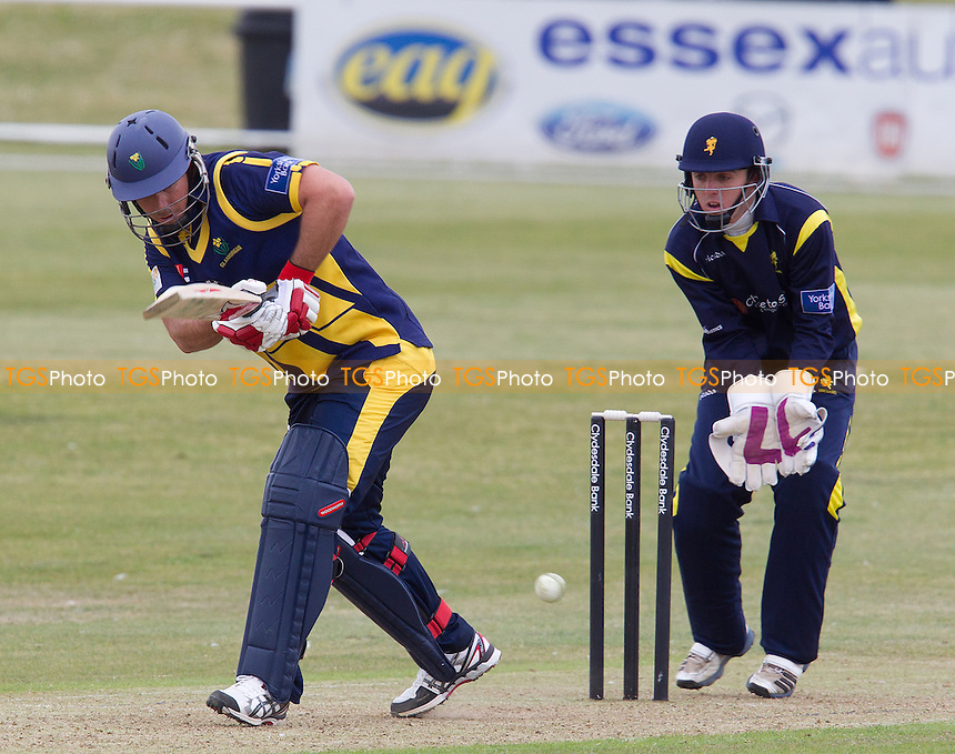 Jim Allenby, Glamorgan CCC collects runs as he pushes into the on side - Unicorns vs Glamorgan CCC - Yorkshire Bank YB40 Cricket at Garon Park, Southend-on-Sea - 09/06/13 - MANDATORY CREDIT: Ray Lawrence/TGSPHOTO - Self billing applies where appropriate - 0845 094 6026 - contact@tgsphoto.co.uk - NO UNPAID USE