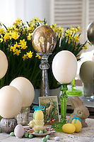 A vintage Easter still life with a variety of eggs from small hard-shelled chocolate sweet ones to large ostrich eggs displayed on candlesticks