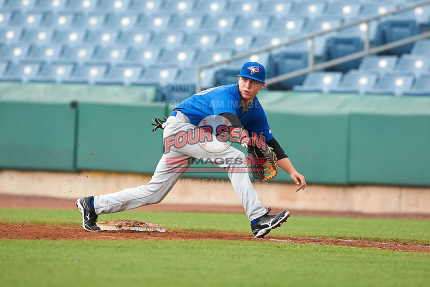 Matthew Orth #19 of Southwest Guilford High School in High Point, North Carolina playing for the Toronto Blue Jays scout team during the East Coast Pro Showcase at Alliance Bank Stadium on August 1, 2012 in Syracuse, New York.  (Mike Janes/Four Seam Images)