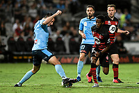28th February 2020; Netstrata Jubilee Stadium, Sydney, New South Wales, Australia; A League Football, Sydney FC versus Western Sydney Wanderers; Ryan McGowan of Sydney takes the ball from Bruce Kamau of Western Sydney Wanderers