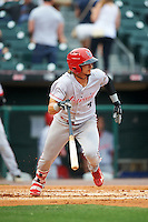 Louisville Bats shortstop Juan Perez (4) at bat during a game against the Buffalo Bisons on June 20, 2016 at Coca-Cola Field in Buffalo, New York.  Louisville defeated Buffalo 4-1.  (Mike Janes/Four Seam Images)