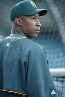 Jermaine Dye of the Oakland Athletics before a 2002 MLB season game against the Los Angeles Angels at Angel Stadium, in Anaheim, California. (Larry Goren/Four Seam Images)