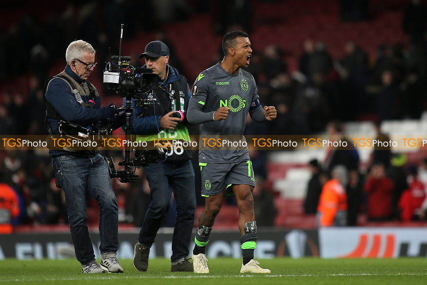 Nani of Sporting Lisbon celebrates their 0-0 draw at the final whistle during Arsenal vs Sporting Lisbon, UEFA Europa League Football at the Emirates Stadium on 8th November 2018