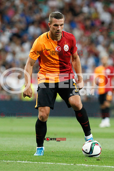 Galatasaray´s Lukas Podolski during Santiago Bernabeu Trophy match at Santiago Bernabeu stadium in Madrid, Spain. August 18, 2015. (ALTERPHOTOS/Victor Blanco)
