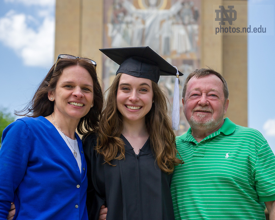 May 18, 2014; Grad and parents following the 2014 Commencement ceremony. Photo by Matt Cashore/University of Notre Dame