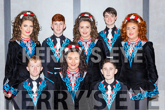 Kerry dancers  at the Oireactas Rince na hÉireann in the INEC last week l-r: Aaron Slemon Moyvane, Shona Gleeson Gneeveguilla, Mark Clifford Killarney. Back row: Sarah Randles Killarney, Joe Rudden Glenflesk, Rachel McGillicuddy Gneeveguilla, Liam Healy Killorglin and Leah Moynihan Killarney