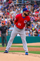 Buffalo Bisons pitcher Brandon Cumpton (51) on the mound during an International League game against the Indianapolis Indians on July 28, 2018 at Victory Field in Indianapolis, Indiana. Indianapolis defeated Buffalo 6-4. (Brad Krause/Four Seam Images)