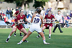 Los Angeles, CA 02/08/13 - Gabriella Flibotte  (Northwestern #19) and Kelsey Palmer  (Umass #10) in action during the Northwestern vs UMass NCAA Women's Lacrosse game at USC's McAlister Field.