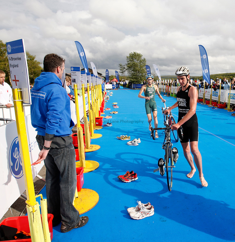 Photo: Richard Lane/Richard Lane Photography. GE Parc Bryn Bach Triathlon. 19/09/2010. Alistair Brownlee and Stuart Hayes come into transition from cycling to run during the Elite Mens' race.