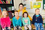 Junior Infants - Cahir School - 04/09/18 <br /> <br /> L-R: Isabella Bevan, Eoghan O'Sullivan, Siobh&aacute;n Sheehan and Cathal O'Sullivan <br /> Teacher - Celine Lynch