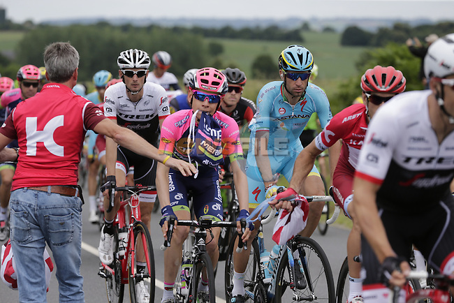 Riders, including Vincenzo Nibali (ITA) Astana, pass through the feed zone at La Hargriniere during Stage 3 of the 2016 Tour de France, running 223.5km from Granville to Angers, France . 4th July 2016.<br /> Picture: Eoin Clarke | Newsfile<br /> <br /> <br /> All photos usage must carry mandatory copyright credit (&copy; Newsfile | Eoin Clarke)