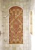 Rogers & Goffigon Kingston Lacy mosaic shower panel in Rojo Alicante and Honey Onyx<br />