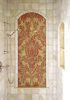 Rogers &amp; Goffigon Kingston Lacy mosaic shower panel in Rojo Alicante and Honey Onyx<br /> -Rogers &amp; Goffigon for New Ravenna Mosaics