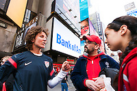 former women's national team player Michelle Akers talks with fans during the centennial celebration of U. S. Soccer at Times Square in New York, NY, on April 04, 2013.