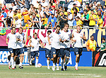 09 September 2007: U.S. players take the field for warmups. From left: Steve Cherundolo, Frank Simek, Bobby Convey, Kerry Zavagnin, Benny Feilhaber, Michael Bradley, Jay DeMerit. The Brazil Men's National Team defeated the United States Men's National Team 4-2 at Soldier Field in Chicago, Illinois in an international friendly labeled the Clash of Champions.