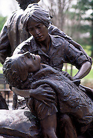 Vietnam Veterans War Memorial, women's memorial with statue of nurses and soldiers, detail #5411. Washington DC.