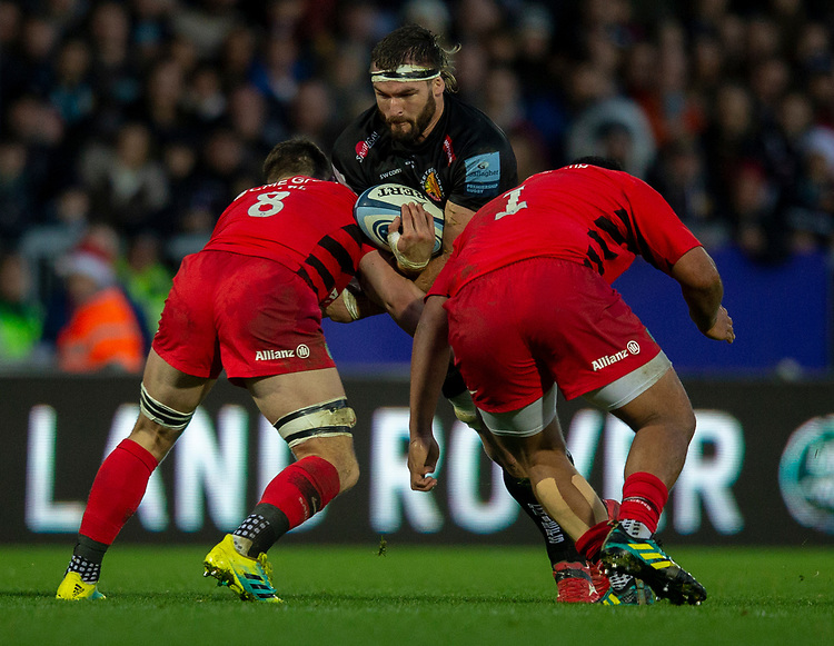 Exeter Chiefs' Don Armand in action during todays match<br /> <br /> Photographer Bob Bradford/CameraSport<br /> <br /> Gallagher Premiership Round 10 - Exeter Chiefs v Saracens - Saturday 22nd December 2018 - Sandy Park - Exeter<br /> <br /> World Copyright © 2018 CameraSport. All rights reserved. 43 Linden Ave. Countesthorpe. Leicester. England. LE8 5PG - Tel: +44 (0) 116 277 4147 - admin@camerasport.com - www.camerasport.com