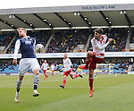 Sheffield United's Ryan Flynn fires in a cross during the League One match at The Den.  Photo credit should read: David Klein/Sportimage