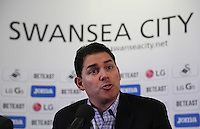 Pictured: Friday 22 July 2016<br /> Jason Levien , one of the new US owners of Swansea City FC attends a press conference at the Liberty Stadium, Swansea, Wales UK.