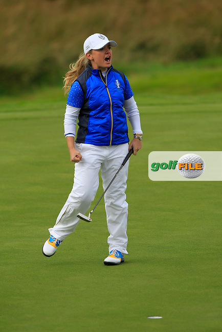 Bronte Law (EUR) on the 1st green during Day 3 Singles at the Solheim Cup 2019, Gleneagles Golf CLub, Auchterarder, Perthshire, Scotland. 15/09/2019.<br /> Picture Thos Caffrey / Golffile.ie<br /> <br /> All photo usage must carry mandatory copyright credit (© Golffile   Thos Caffrey)