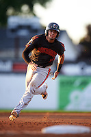 Aberdeen Ironbirds second baseman Alejandro Juvier (6) running the bases during a game against the Batavia Muckdogs on July 16, 2016 at Dwyer Stadium in Batavia, New York.  Aberdeen defeated Batavia 9-0. (Mike Janes/Four Seam Images)