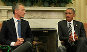 United States President Barack Obama, right, makes remarks to the press as he and NATO Secretary-General Jens Stoltenberg meet in the Oval Office of the White House in Washington, D.C. on Tuesday, May 26, 2015 <br /> Credit: Dennis Brack / Pool via CNP