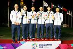 (L to R) <br />   ÄGareth Jones, <br />  Daiki Imano, <br />  Takumi Kanaya, <br /> Ren Yonezawa, <br /> Keita Nakajima, <br />   Hirokazu Suhara (JPN), <br /> AUGUST 26, 2018 - Golf : <br /> Men's Team Medal Ceremony <br /> at Pondok Indah Golf & Country Club <br /> during the 2018 Jakarta Palembang Asian Games <br /> in Jakarta, Indonesia. <br /> (Photo by Naoki Morita/AFLO SPORT)