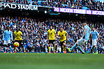 Sergio Aguero of Manchester City takes his failed penalty kick - Barclay's Premier League - Manchester City vs Aston Villa - Etihad Stadium - Manchester - 05/03/2016 Pic Philip Oldham/SportImage