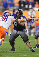 Jan. 4, 2010; Glendale, AZ, USA; TCU Horned Frogs offensive tackle Marcus Cannon against the Boise State Broncos in the 2010 Fiesta Bowl at University of Phoenix Stadium. Boise State defeated TCU 17-10. Mandatory Credit: Mark J. Rebilas-