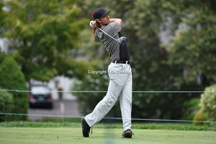 August 6, 2016: Aaron Baddeley of Australia plays his shot from the fifth tee during day three of the PGA Travelers Championship held at TPC River Highlands in Cromwell CT. Eric Canha/CSM