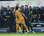 Tottenham's Son Heung-Min scoring his sides fourth goal with Harry Kane and Mauricio Pochettino during the Premier League match at the King Power Stadium, Leicester. Picture date: May 18th, 2017. Pic credit should read: David Klein/Sportimage