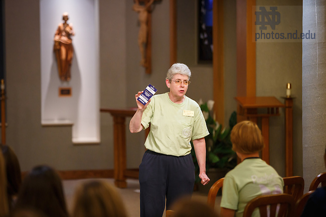 Aug. 21, 2015; Rector, Sr. Mary Donnelly welcomes back her students during a Welcome Home Event at Pangborn Hall. (Photo by Peter Ringenberg/University of Notre Dame)